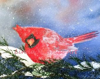 Cardinal 3x3 gift enclosure card from my original oil painting with envelope.
