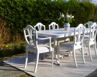 NOW SOLD****Stunning, White Extending Dining Table and 6 newly Upholstered Chairs. Seats up to 8.