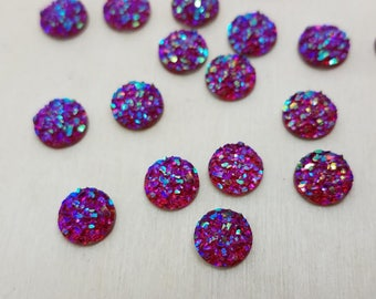 8mm Bright Red Faux Druzy Cabochon - 10 pcs: 8-DRUZ-A01