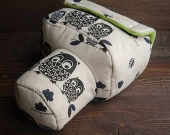DSLR camera bag case cover owls linen