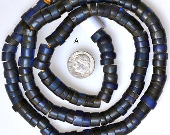 Antique Sliced Bohemian Russian Blue Family Beads with Large Hole - Vintage African Trade Beads - 25-26 Inch Strand