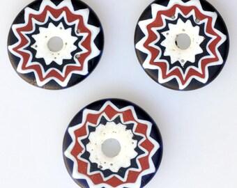 Vintage Venetian Sliced Chevron Beads -  20mm x 5mm - Qty 1