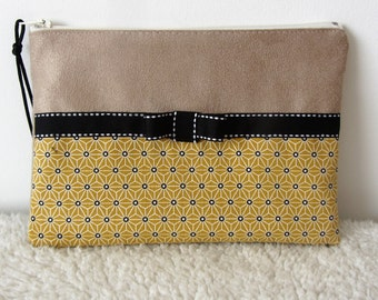 Cosmetic case in fabric and beige suede mustard Japanese asanoha nymeriacreation