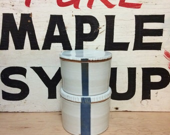 White Canister with a Blue Stripe | Modern and Graphic Jar with Lid