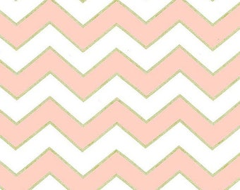 Chic Chevron Pearlized in Blush - Glitz collection by Michael Miller Fabrics - Modern metallic gold