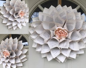 Clearance - Large Handmade Antiqued Book Page Paper, Cone Wreath, Round Cone Wreath, Peony Flower