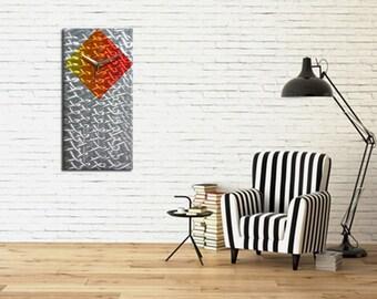Contemporary Metal Wall Clock ''CRONUS'', Modern Functional Art, Timepiece-Home Decor-Wall Accent, Handmade Wall Clock, Metal Painting, Gift
