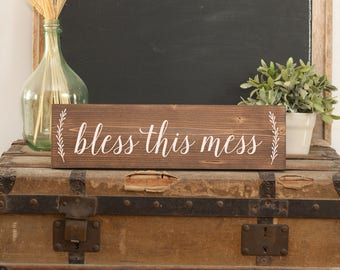 Bless this mess sign Bless this mess laundry Laundry sign Laundry hanging Laundry art Laundry decor Messy sign Mess sign Bless this mess art