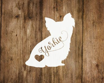 Yorkie Dog Love Decal, Yorkie Heart Decal, Dog Decal, Pet Decal, Yeti Decal, Car Decal, Laptop Decal, Dog Decal, Yorkie Dog Decal