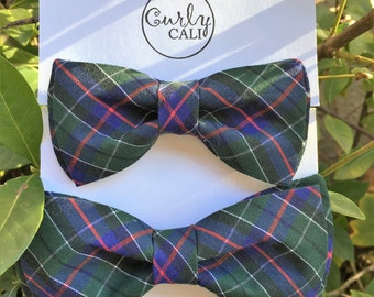 Father/ Son Green and Blue Plaid Bow Tie Set
