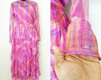 70s Victor Costa Ltd. Sheer Pink Ruffled Dress | Labeled Size 12