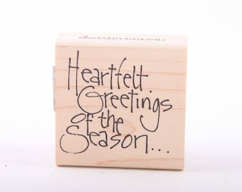 Christmas, Heartfelt Greetings of the Season, Text, Greeting Card, Single Stamp, Vintage Rubber Stamp ~ 161002A