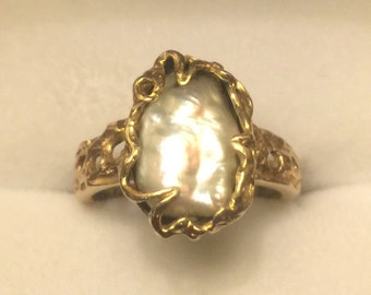 Vintage 14k Gold Natural Pearl Ring