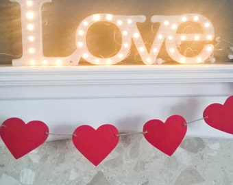 Red heart bunting by Joyce Molly Designs