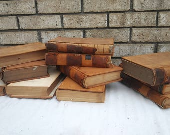 11 distressed antique leather law books