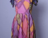 Fun and Funky Vintage 60s dress, bright and colorful, psychedlic 70s style, abstract art dress, mid mod, size small needs TLC