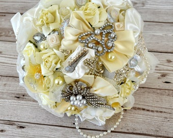 Wedding Ivory Satin Brooch bridal bouquet