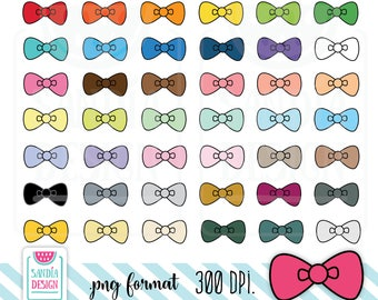 Kawaii Bow Clipart. Planner Stickers Clipart. Personal and comercial use.
