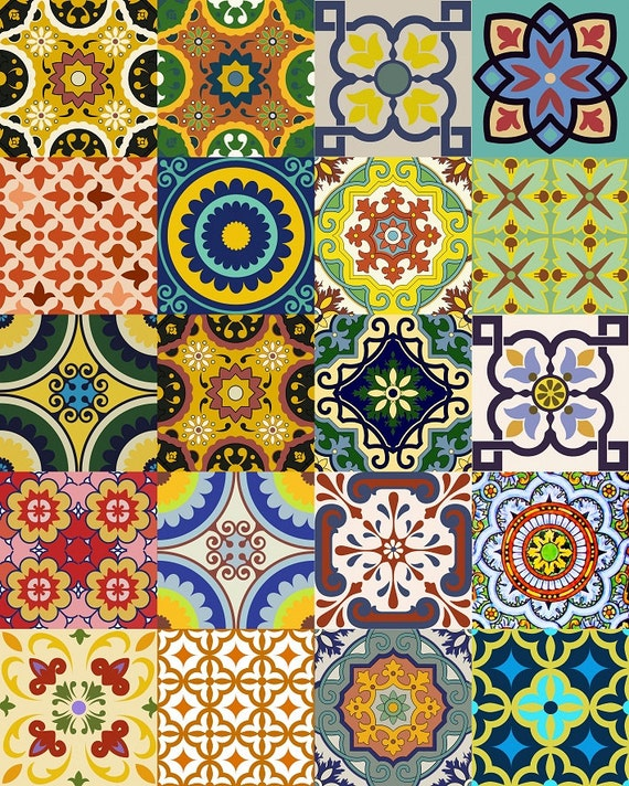 Sticker Set Mexican Tile Tile Stickers Decorative By Alegriam
