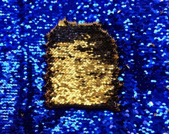 """NEW COLOR!!! Royal-Blue/Copper-Gold Shiny 5mm Flip Up Sequin on Spandex, 54"""" inch, sold by the yard"""