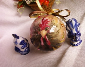 Christmas balls in the technique of decoupage with the symbol of the year