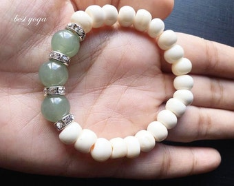 Handmade Ostrich Bone Beads With Jade Women's Accessories Beaded Bracelet