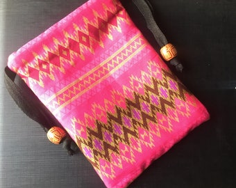 Handmade Thai Pink and Gold Print Fabric Tarot Card Pouch Bag With Drawstring