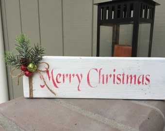 Christmas holiday stenciled block sign, merry Christmas with twine and pine decor, rustic decor, christmas decoration, winter decor