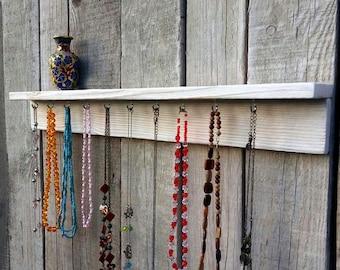Shelf for jewelry Wooden Shelf Wall Shelf Rustic Home Decor Necklace Holder