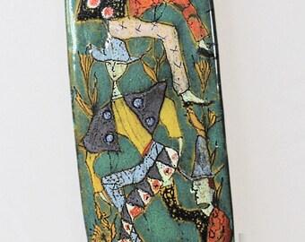 Elio Schiavon Ceramic Wall Art, Whimsical Jesters, 1960's, Italian
