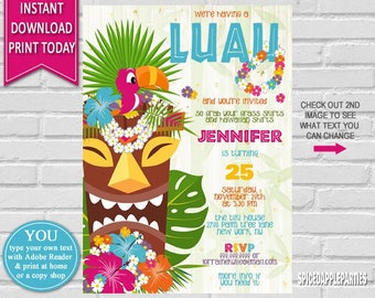 Hawaiian Luau Birthday Invitation   Luau Party, Hawaiian Party, Hawaiian Birthday,Tropical Invitation,Hawaiian Luau,Luau Birthday Invitation