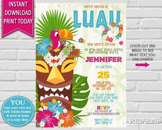 Hawaiian luau birthday invitation luau party hawaiian party il570xn stopboris Image collections