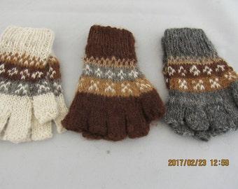 100% Alpaca Kids Fingerless Gloves (Hand spun and hand knitted)