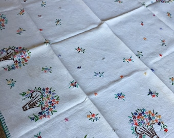 Vintage embroidered tablecloth with flower baskets colorfull spring linen antique style fabric country cottage charm French bourgeoise home