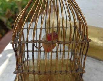 Antique bird cage with wax bird parrot dated about 1900 for doll dollhouse