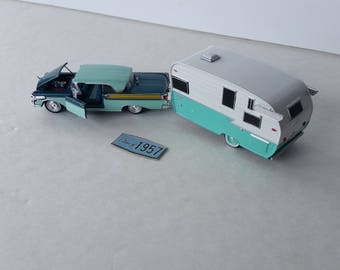 1957 Mercury Turnpike Cruiser 2 Dr.Hardtop Pulling A 1961 Shasta Airflyte Glamper  Travel Trailer 1/64Scale Die Cast Metal Adult Collectible