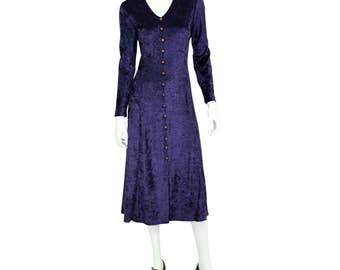 1990's Vintage 10P PM Purple Crushed Velvet Victorian Dress Steam Punk Brett Alixander