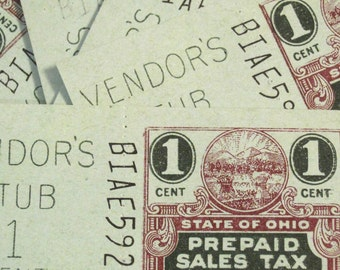 Vintage Ohio State Tax Coupons (1 Cent)