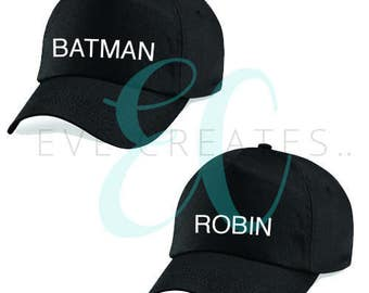 Batman & Robin Baseball Cap Pair, Duo, Friend, Relationship Clothing