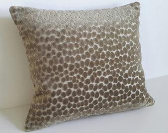 Plush Animal Print Pillow in a Taupe Raised Velvet Design - Size - 16 x 16
