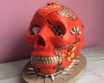 Resin handpainted skull