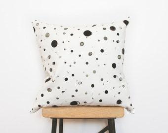 Black dots minimalist white cushion cover