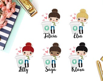 Coffee, Break Time, Drink | Girl (matte planner stickers, perfect for planners)
