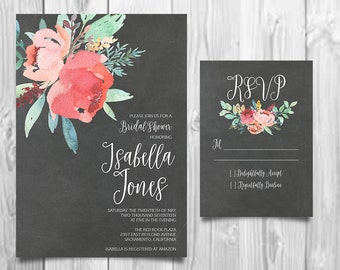 Floral Bridal Shower Invitation, Peony Shower Invite, Modern Calligraphy Invite, Rustic RSVP Card, Bridal Shower Invite, Bridal Invitation