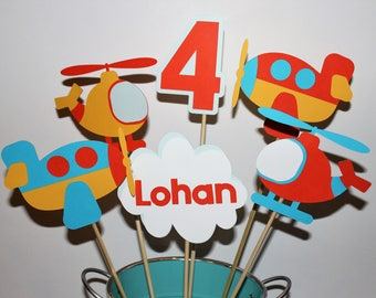 Airplane Centerpiece, Up in the Air, Time Flies, Airplane Party Decor, Airplane Birthday Party