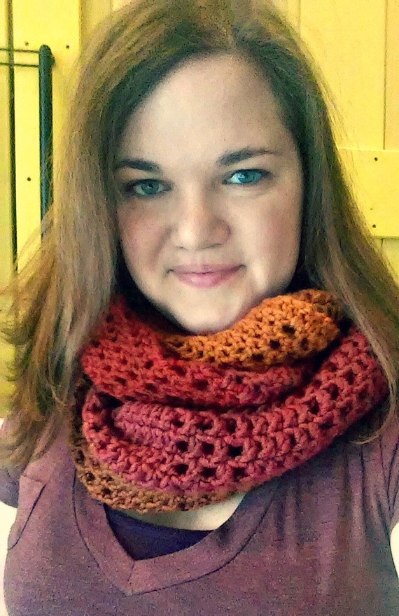 Chunky ombre infinity scarf -- fiery ombre -- crochet scarf