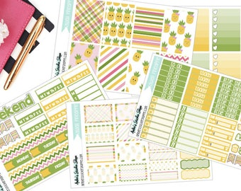 A La Carte Kawaii Pineapple Weekly Kit for Happy Planner Planner Stickers