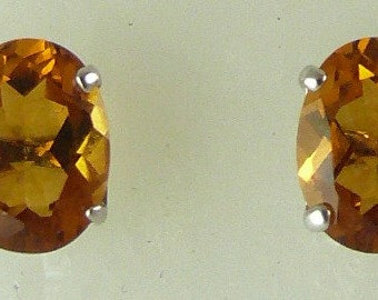 Citrine 2.21ct Stud Earring 14k White Gold