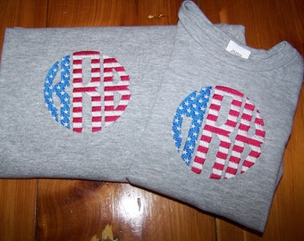 Monogrammed Fourth of July/Summer T-shirts (Baby, Toddler & Adult)