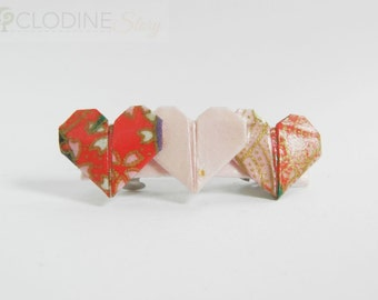Red/Pink origami heart barrette, Origami heart hair clip, Hair accessories, Origami heart, Hair clip, Origami jewelry,
